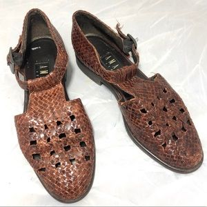Vintage T Strap Woven Flats Made in Italy 7.5